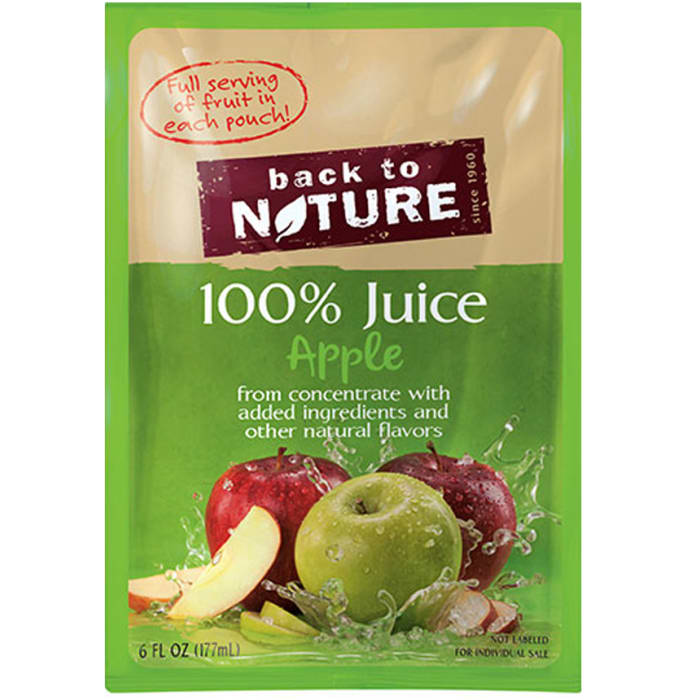 Back to Nature 100% Juice Pouches Apple