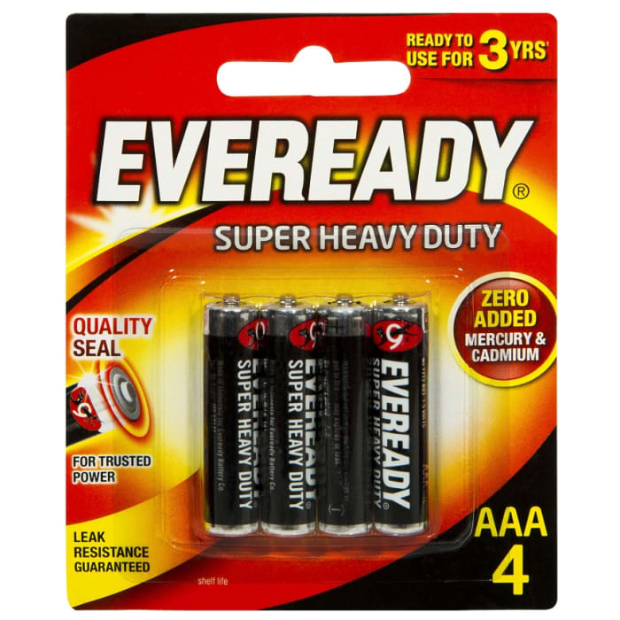 Eveready Batteries AAA-4 1.5V Supper Heavy Duty