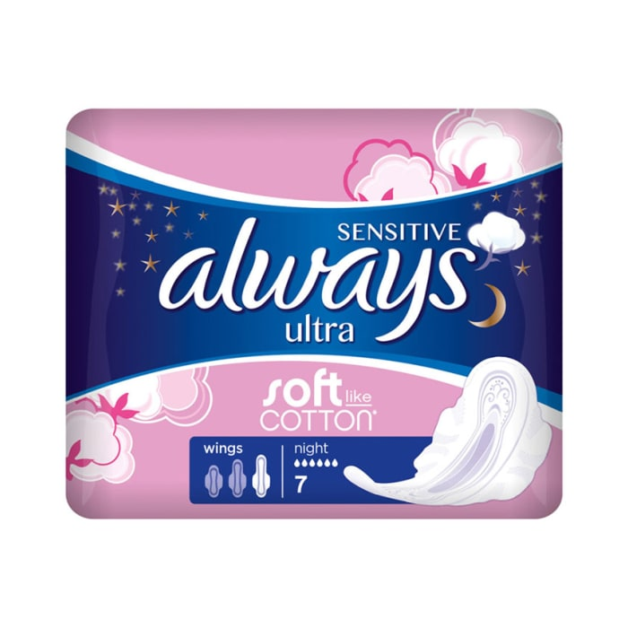 Always Sensitive Ultra Soft Night 7Pcs