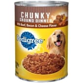 Pedigree Chunky Ground Dinner With Beef Bacon & Cheese Flavor Wet Dog Food