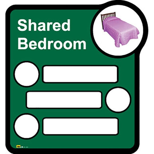 Bedroom Sign   - Interchangeable shared by three  - Dementia Signage for Hospitals