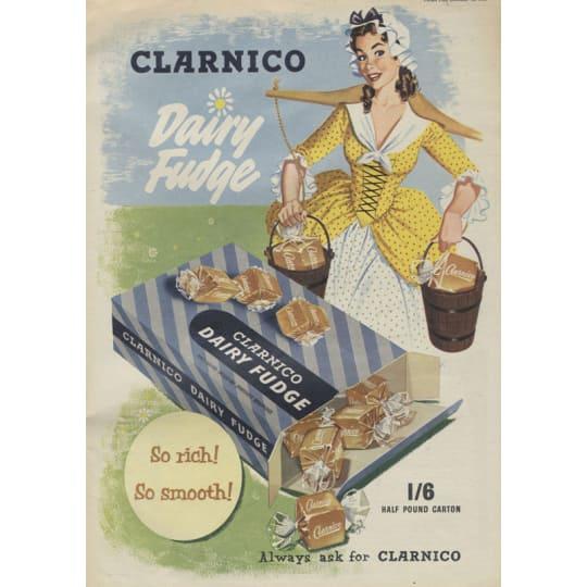 Dementia friendly Vintage Clarnico Dairy Fudge Ad - A4 (210 x 297mm)