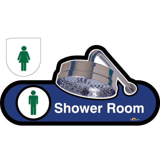 Shower Room Sign - Hygenus Male / Female Interchangeable  - Dementia Signage for Hospitals