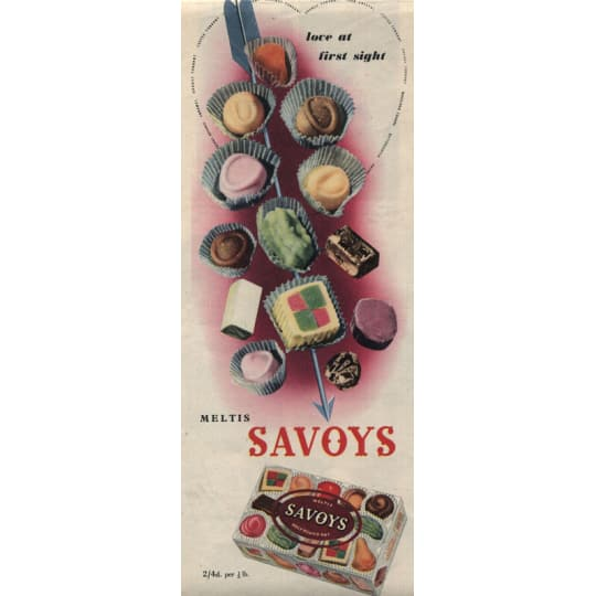 Meltis Savoys Sweets Ad - A4 (210 x 297mm)
