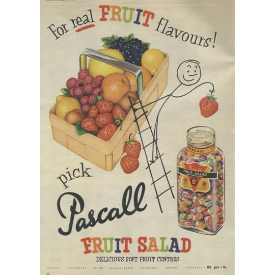 Pascall Fruit Salad Sweets Ad - A4 (210 x 297mm)