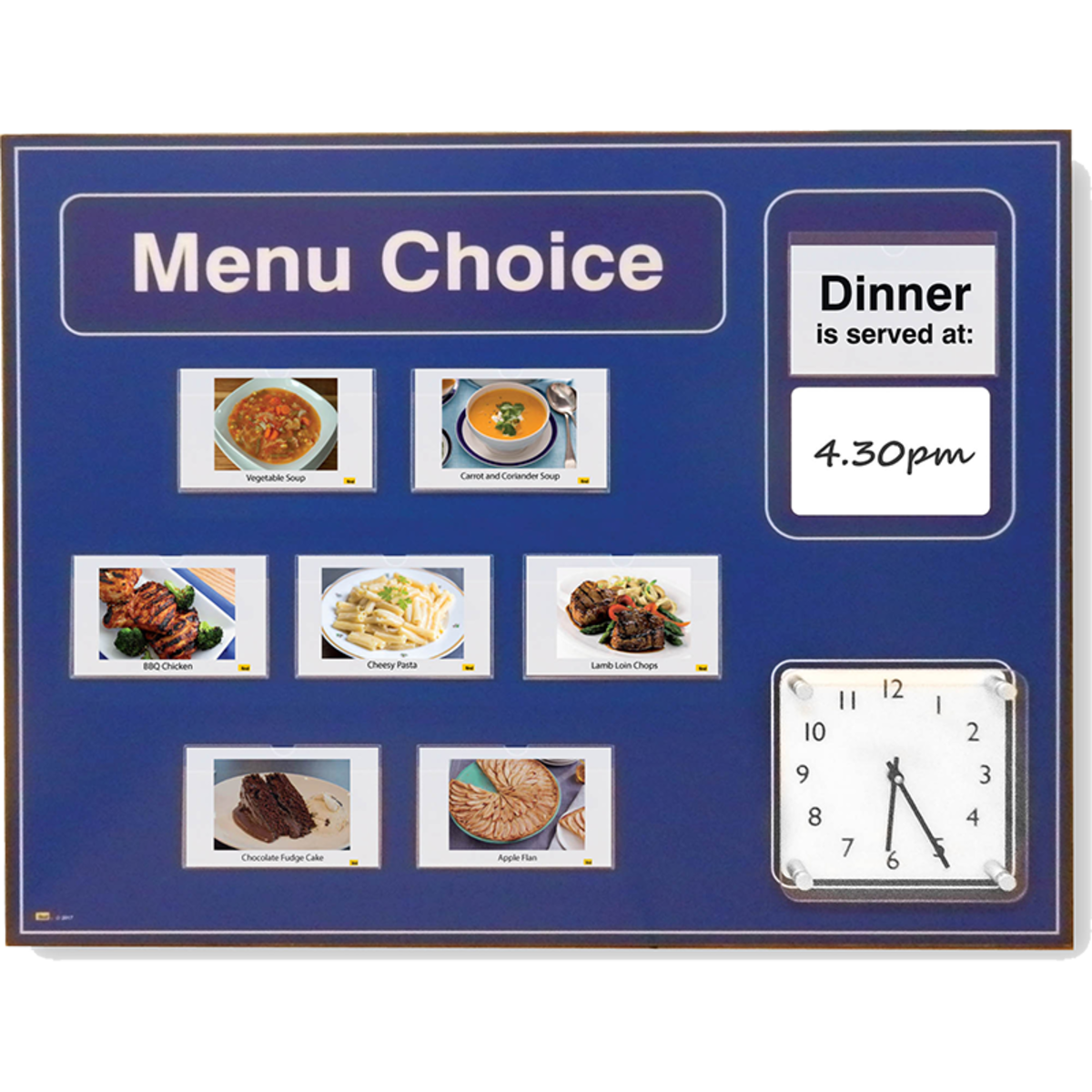 Picture Menu Board with clock for Alzhemiers and dementia care with free food pictures