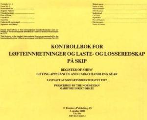 Kontrollbok for løfteinnretninger og laste- og losseredskap på skip, lnr. 1101