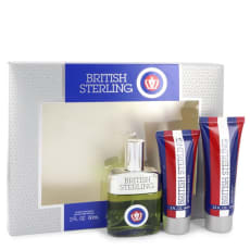 British Sterling by Dana Gift Set -- 2.5 oz Cologne Spray + 2.5 oz Body Wash + 2 oz After Shave Balm for Men