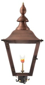 Oak Alley Post Mount Gas Copper Lantern by Primo
