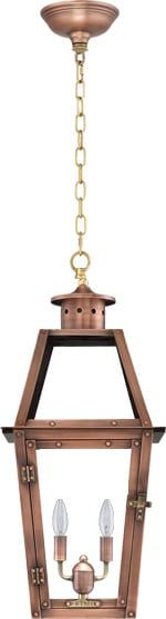 Acadian Hanging Chain Copper Lantern by Primo