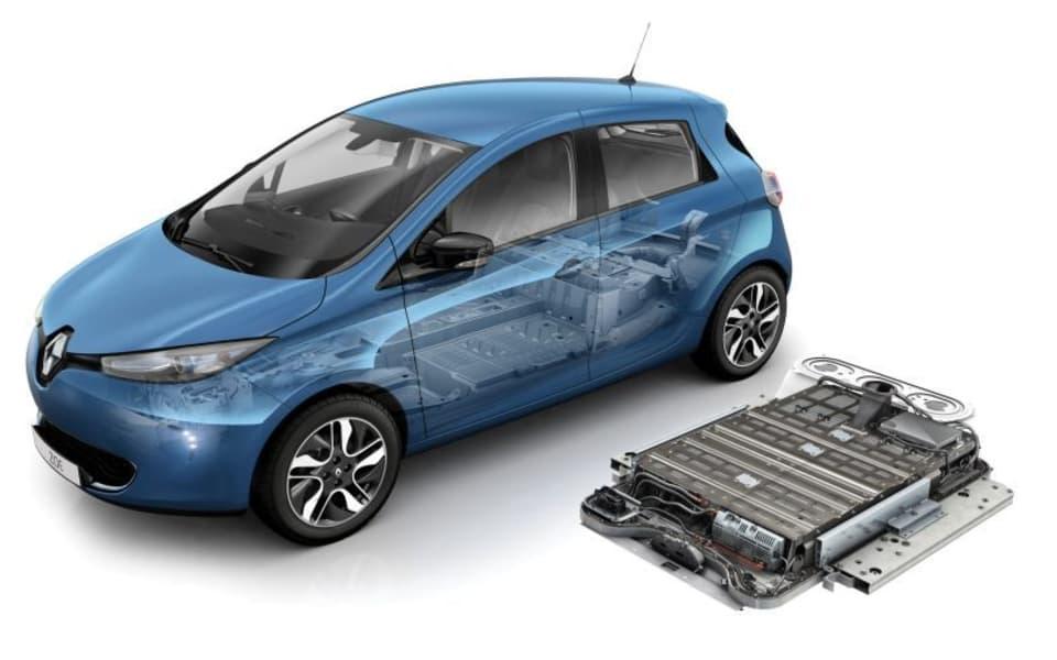 Illustrasjon av blå Renault Zoe med litiubatteri