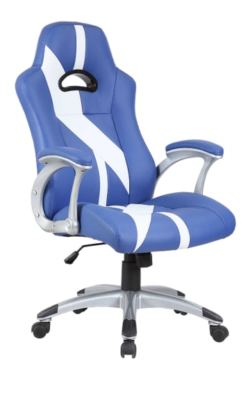 Blue & White Stripe Racing Sports Style Office Computer Desk Chair