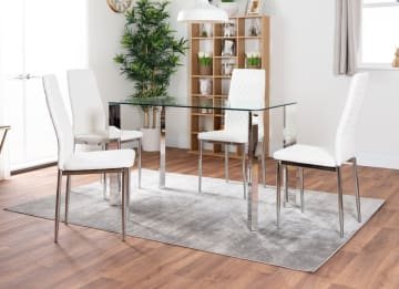 Lucia 4 Glass Chrome Table And 4 Modern Milan Chairs Set