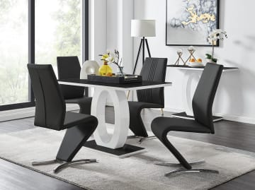 Giovani Black/White High Gloss Glass Dining Table and 4 Willow Chairs Set
