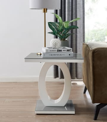 Giovani Modern Grey/White Halo High Gloss Glass Side/End Table