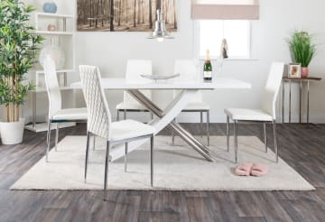 Mayfair Large White High Gloss And Stainless Steel Dining Table And 6 Milan Dining Chairs