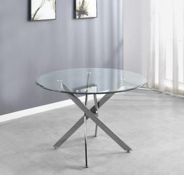 Novara Chrome Metal And Glass Large 120cm Round Dining Table