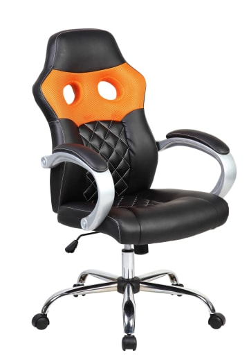 Orange Hatched Racing Sports Style Office Computer Desk Chair