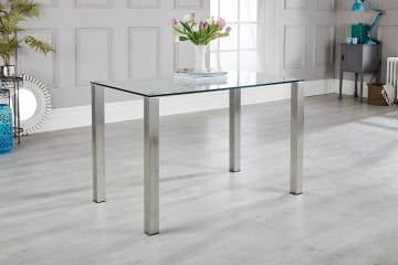 Salerno 4 Clear Glass And Brushed Stainless Steel Metal Dining Table