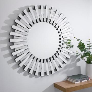 Starburst Small/Large Silver Round Modern Mirror