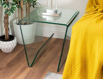 Turin Modern Clear Glass Side Table