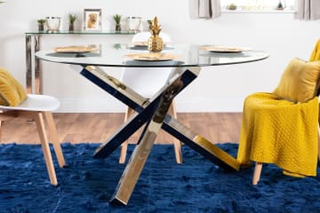 Vogue Large Round Chrome/Metal Clear Glass Dining Table