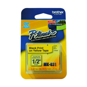 Fita P/ Rotulador 12 Mmx8 Mt Preto/Amarelo Mk631   Brother
