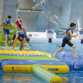 Kids playing aqua splash