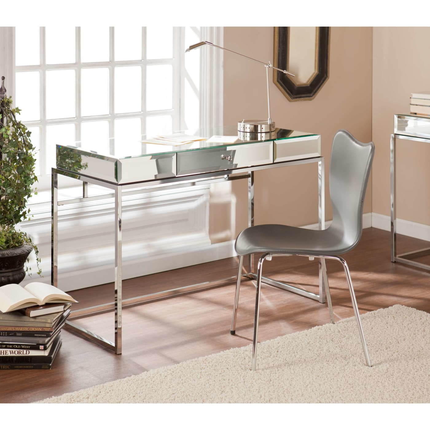 Dana Mirrored Desk Southern Enterprises Ho9274