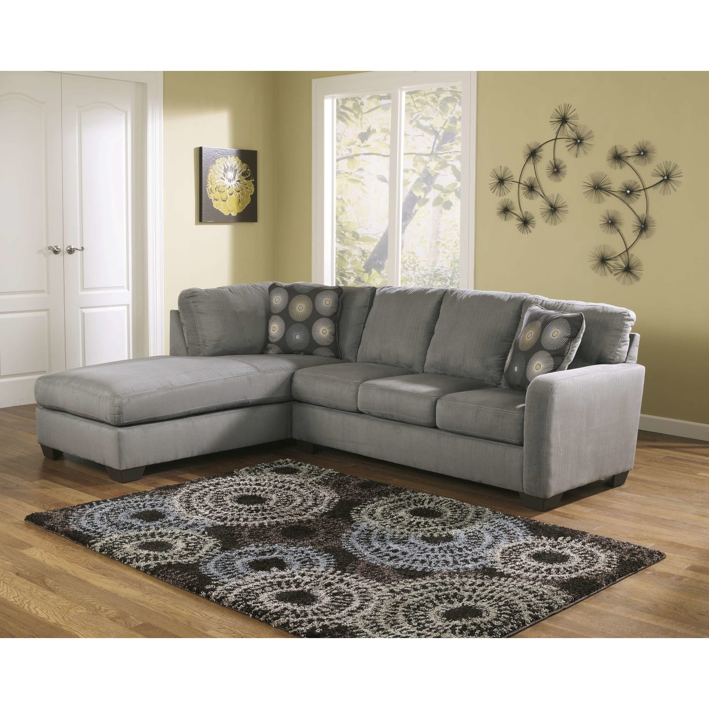 Discount Furniture Milwaukee: Signature Design By Ashley Zella Charcoal Left Chaise