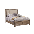 Alpine Melbourne French Truffle King Sleigh Bed with Upholstered Headboard