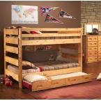 Chelsea Home Cinnamon Full Over Full Bunk Bed with Trundle Unit