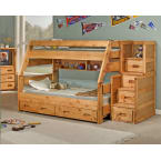 Chelsea Home Cinnamon Twin Over Full Bunk Bed with Trundle Unit and Staircase Chest