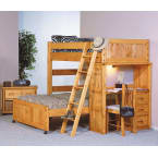 Chelsea Home Cinnamon Twin Over Full Loft Bed with Desk End