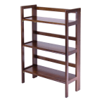 Winsome Wood Antique Walnut 3-Tier Wide Folding and Stackable Shelf