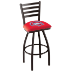 """Holland Bar Stool 25"""" Black Wrinkle Montreal Canadiens Swivel Bar Stool with Ladder Style Back"""