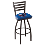 "Holland Bar Stool 30"" Black Wrinkle DePaul University Swivel Bar Stool with Ladder Style Back"