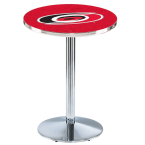 "Holland Bar Stool 42"" Chrome Carolina Hurricanes Pub Table with Round Base"