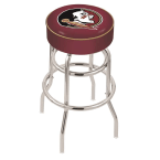 "Holland Bar Stool 25"" Florida State (Head) Cushion Seat Swivel Bar Stool with Double-Ring Chrome Base"