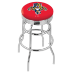"""Holland Bar Stool 25"""" Chrome Florida Panthers Double-Ring Swivel Bar Stool with 2.5"""" Ribbed Accent Ring"""