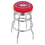 """Holland Bar Stool 25"""" Chrome Montreal Canadiens Double-Ring Swivel Bar Stool with 2.5"""" Ribbed Accent Ring"""