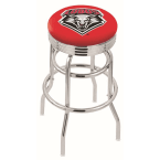 "Holland Bar Stool 30"" Chrome University of New Mexico Double-Ring Swivel Bar Stool with 2.5"" Ribbed Accent Ring"