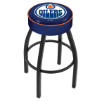 "Holland Bar Stool 25"" Edmonton Oilers Cushion Seat Swivel Bar Stool with Black Wrinkle Base"
