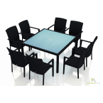 Harmonia Living Urbana 9-Piece Square Arm Outdoor Dining Set without Cushions