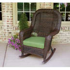 Tortuga Outdoors Sea Pines Rocker in Java Wicker with Rave Spearmint Cushions