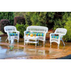 Tortuga Outdoors Portside 4 Piece Seating Set in White Wicker with Haliwell Caribbean Cushions