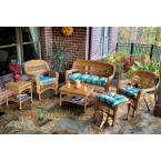 Tortuga Outdoors Portside 6 Piece Seating Set in Amber Wicker with Haliwell Caribbean Cushions