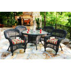 Tortuga Outdoors Portside 5 Piece Dining Set in Dark Roast Wicker with Haliwell Caribbean Cushions