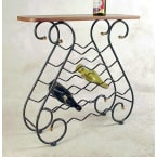 Grace Collection Satin Black 16 Bottle Wine Rack with Wood Top and without Brass Tips