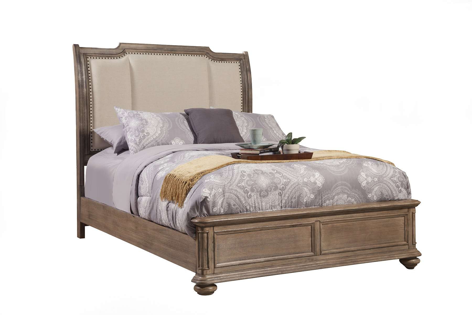 Melbourne French Truffle King Sleigh Bed with Upholstered Headboard